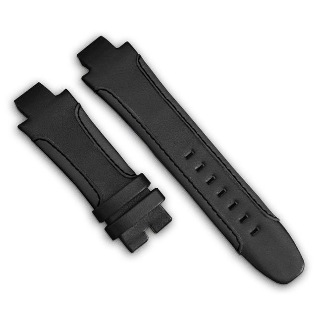 Black Leather Watch Bracelet