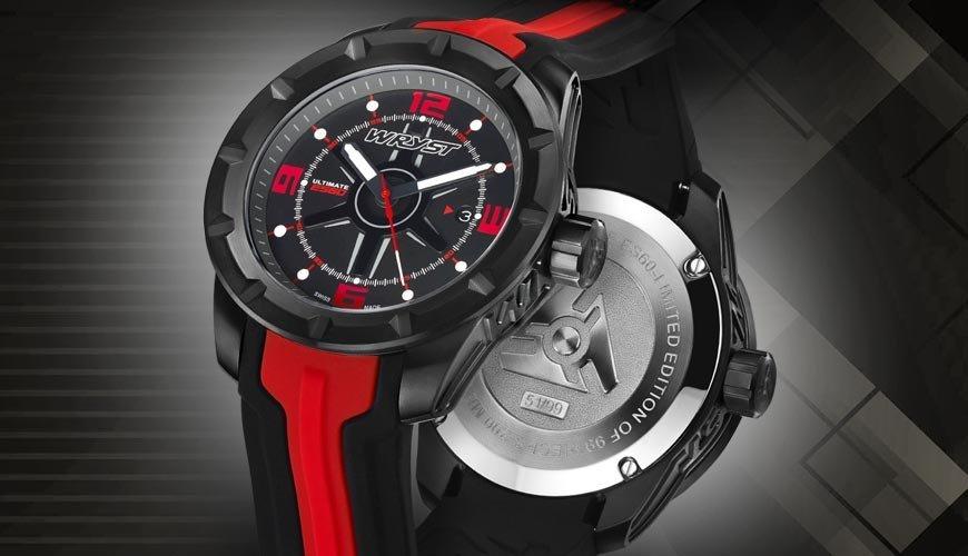 reloj suizo negro para deportes diseñados