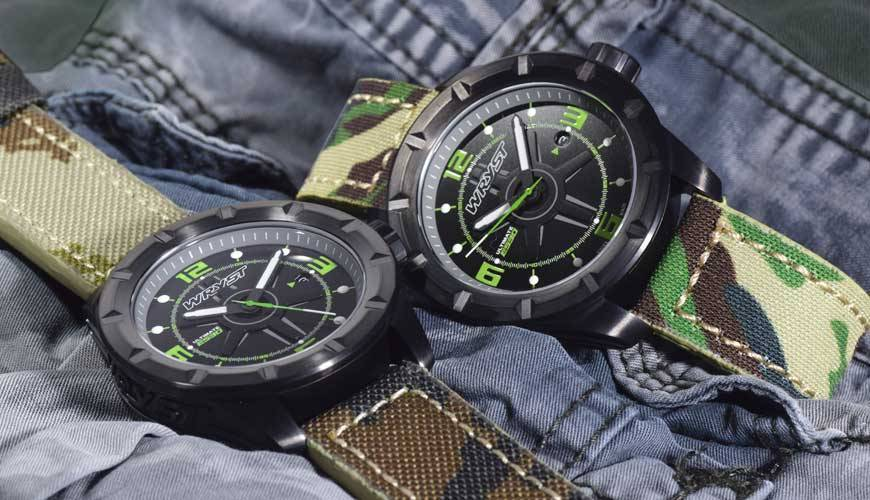 Montre Armée Suisse | Wryst ES30 Noire Avec Bracelet Camouflage