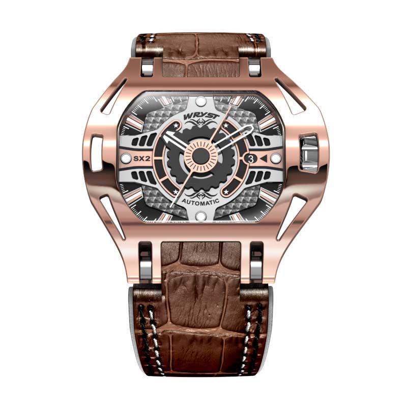 Montre automatique de luxe suisse Rose Gld avec bracelet en cuir marron