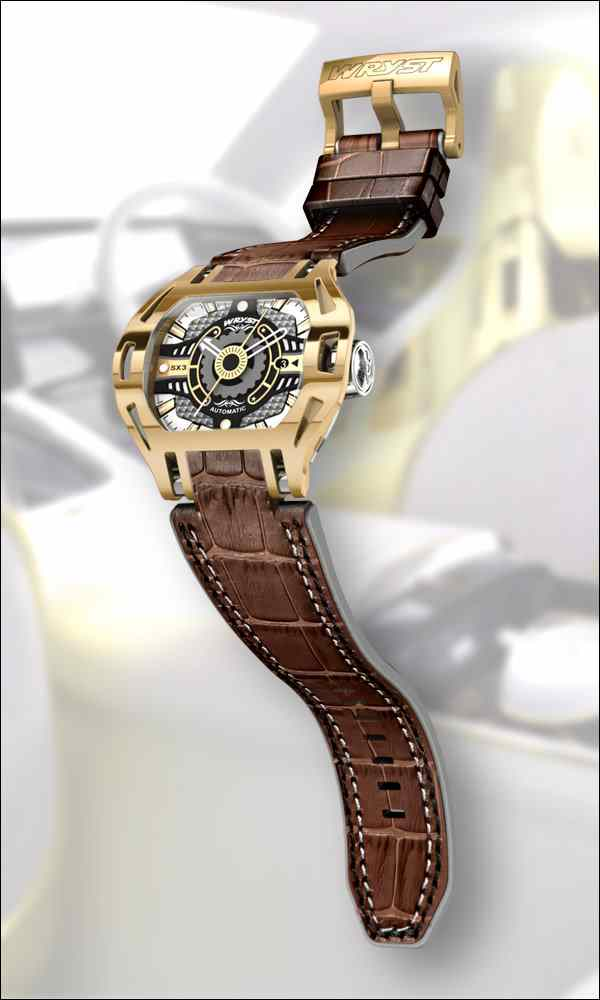 Gold Wryst watch leather band Wryst
