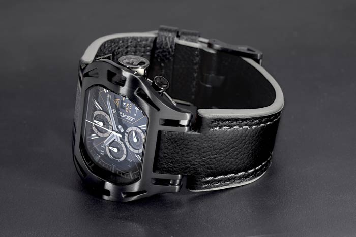 Black Leather Chronograph Watch Wryst SX210