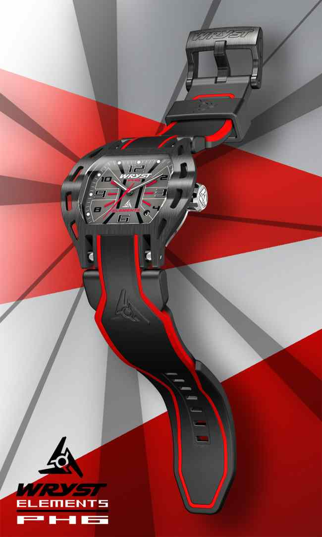 Black and Red Steel Watch Wryst PH6 Extreme Sports