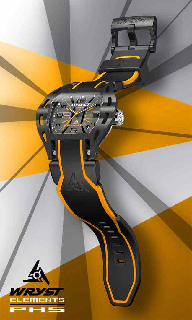Black Steel Watch Orange Details Wryst PH5 Extreme Sports