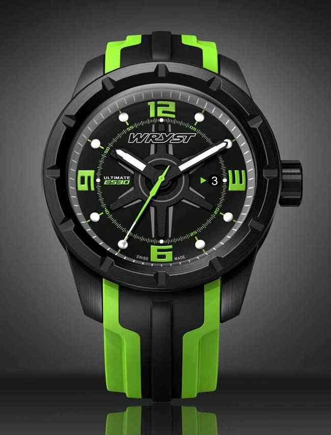 black swiss sport watch for men with green details