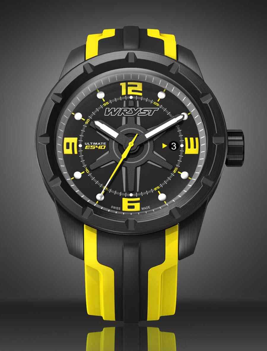 Extreme Sports Black swiss watch and Yellow for Men