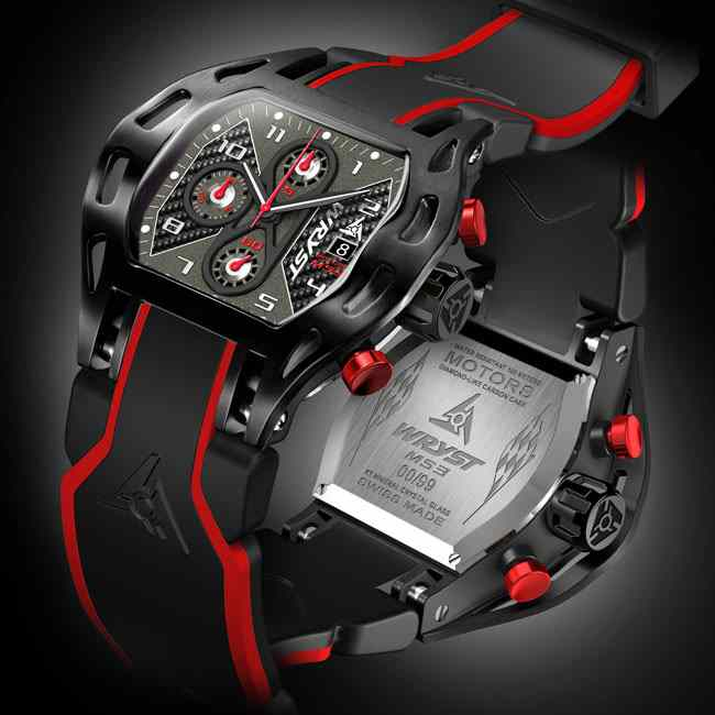 swiss black sport watch carbon fiber