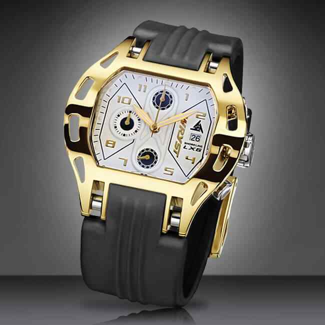 gold and black strap luxury sport watch