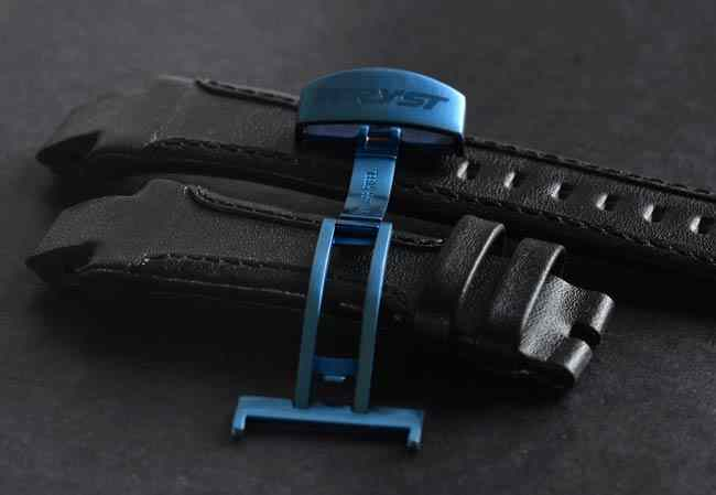 leather strap swiss watch blue anodized clasp