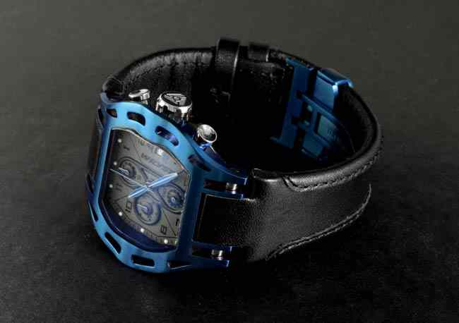 luxury swiss watch anodized blue