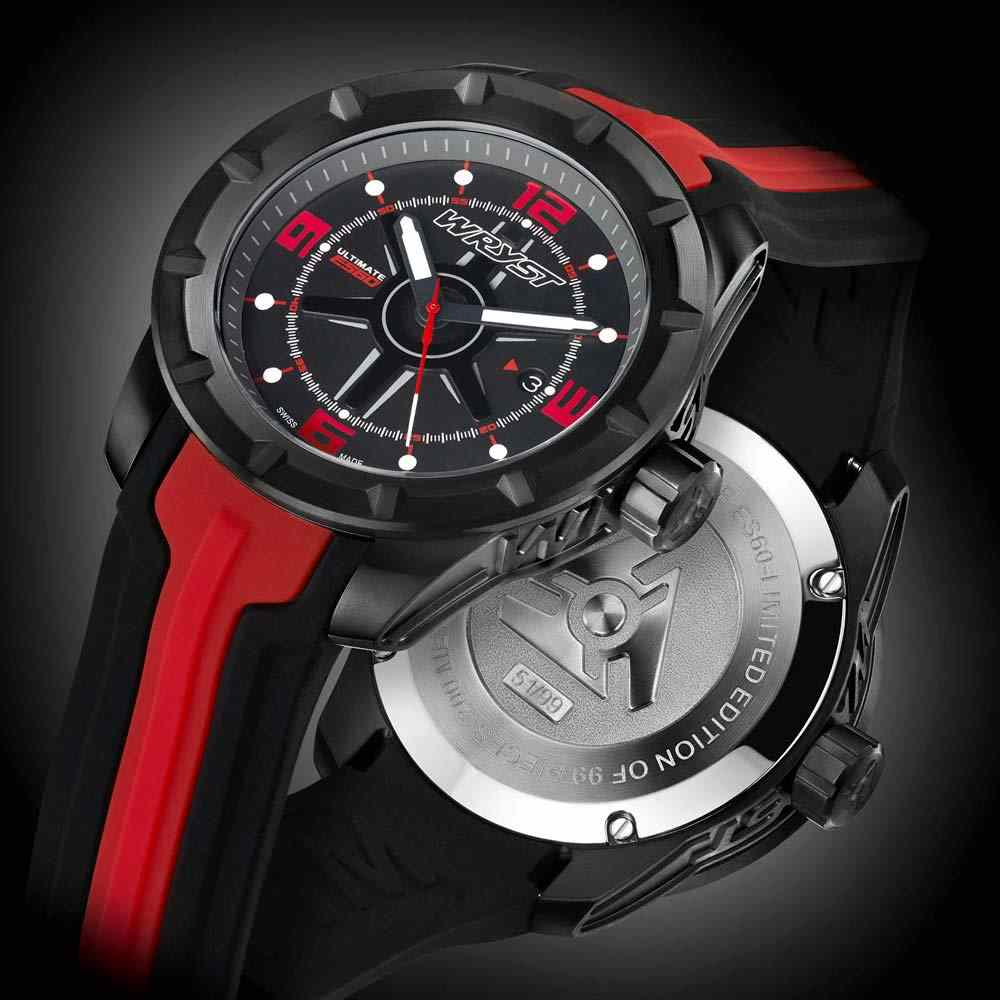 Negro y rojo deportivo reloj suizo Extreme Sports Limited Edition