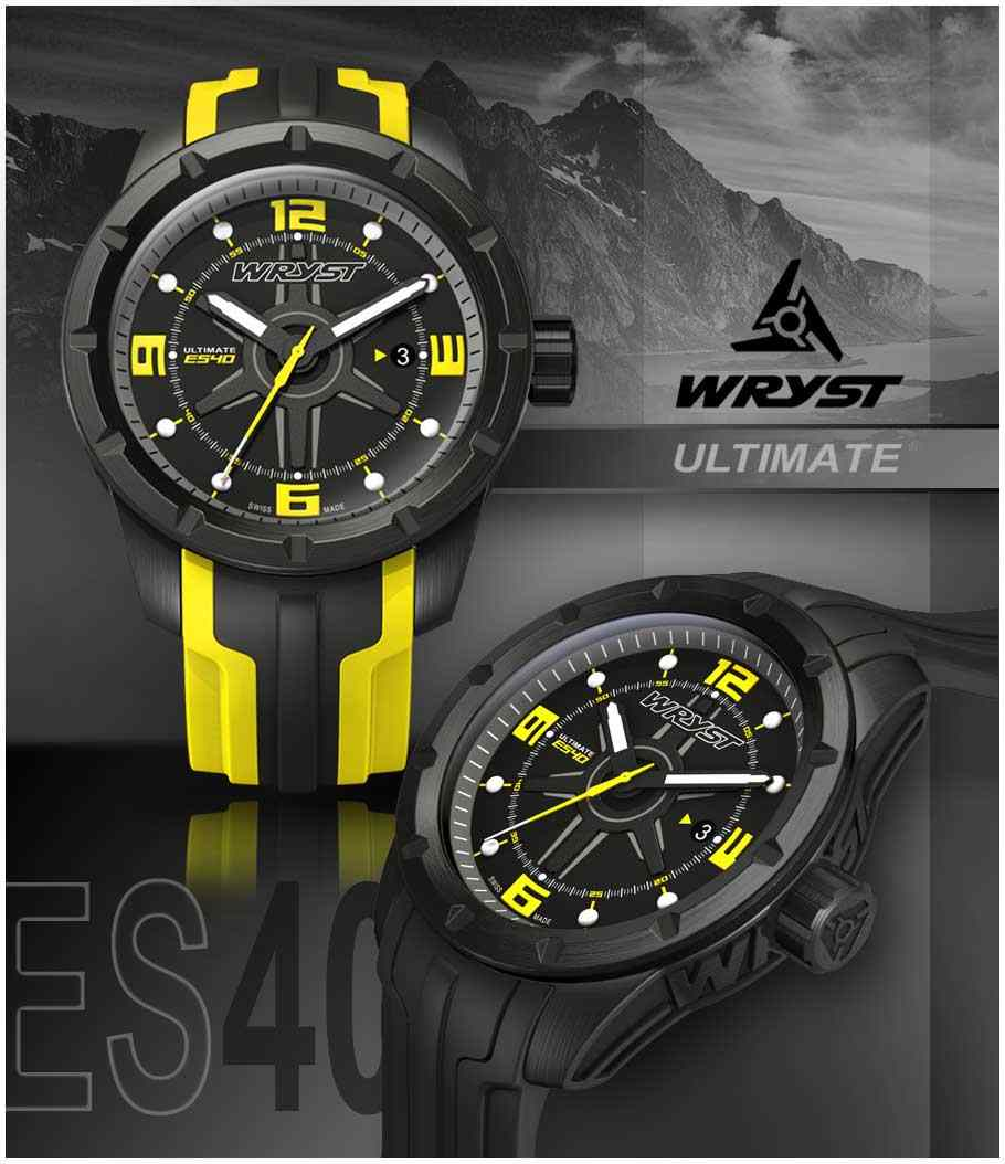 swiss watch black DLC black and yellow dial