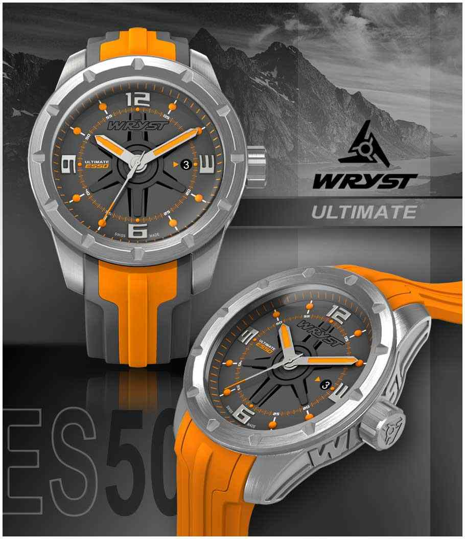 swiss watch brushed orange and grey limited edition