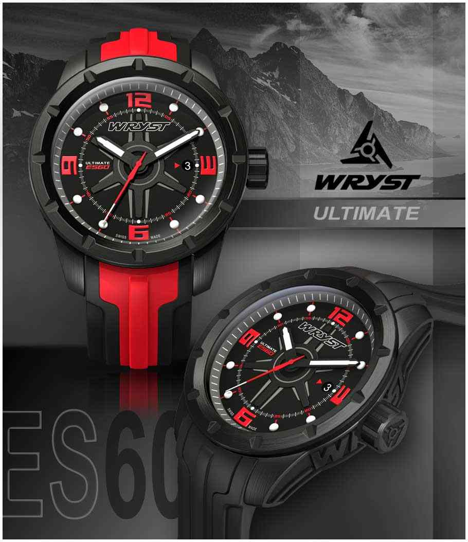 black sport watch Swiss with red details