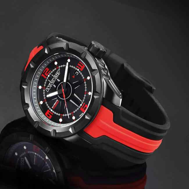 Black and Red Metal Swiss Watch