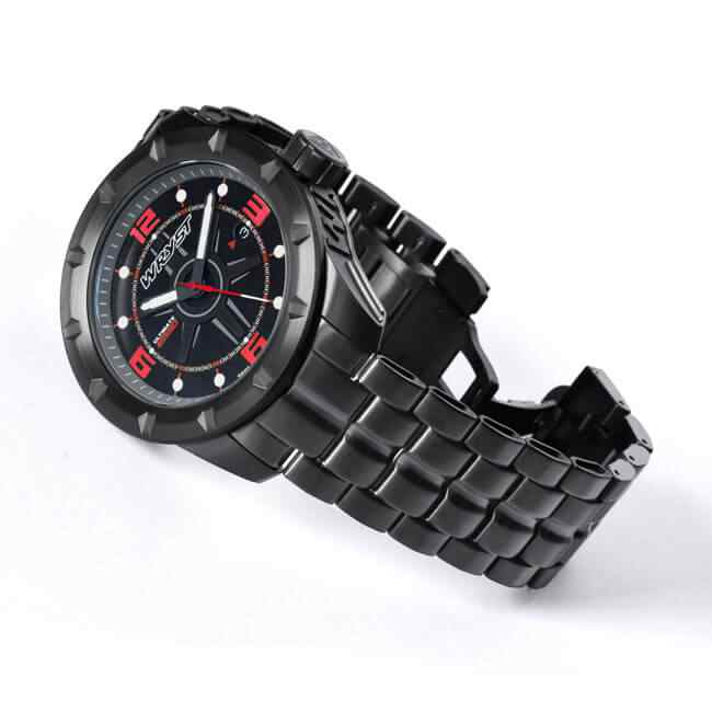 Black Swiss Watch with Red Details