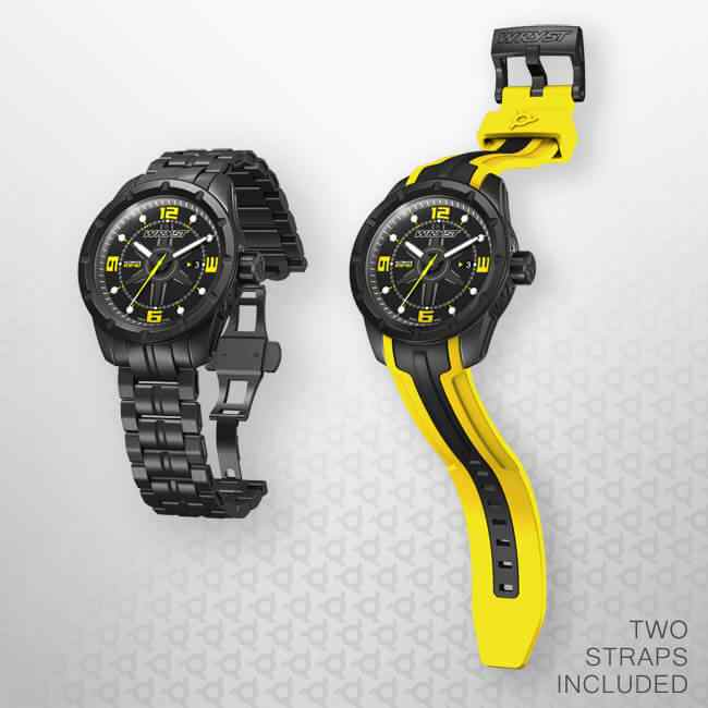 Black Swiss Watch Yellow Numbers