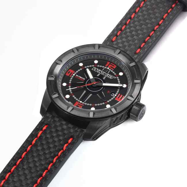 Black outdoors watch carbon fiber bracelet with red details Wryst ES60