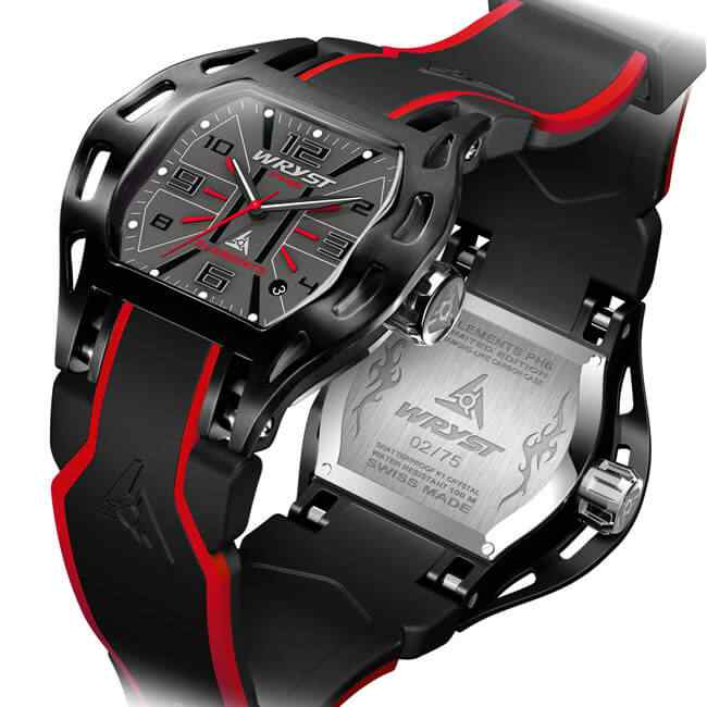 Black and red sports watch Swiss made Wryst