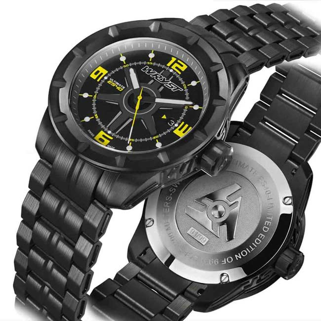 Black and Yellow Metal Swiss Watch