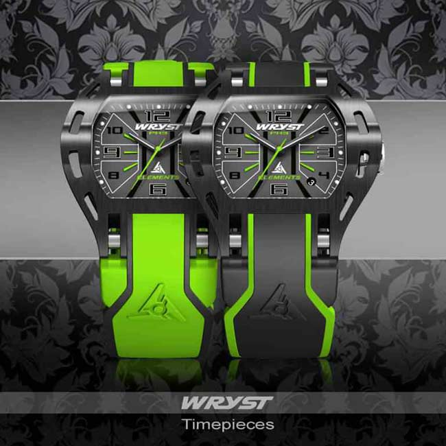Schwarze und grüne Designer Sportuhr
