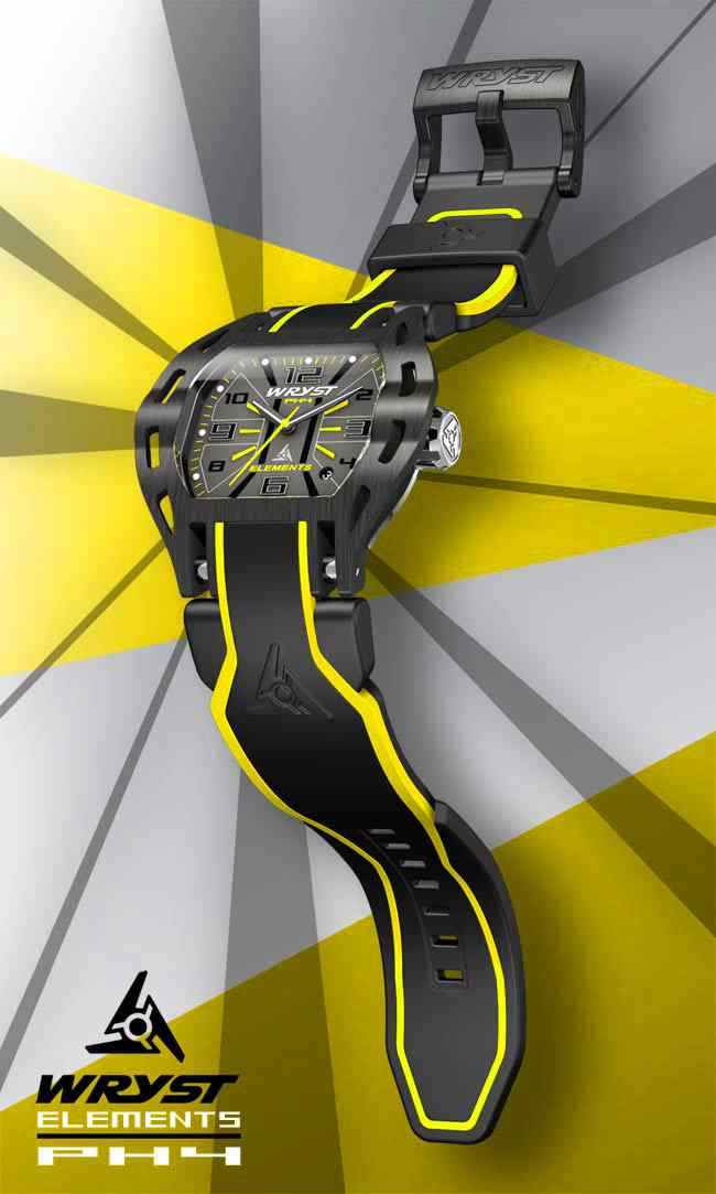 Yellow Black Steel Watch Wryst PH4 for Sports