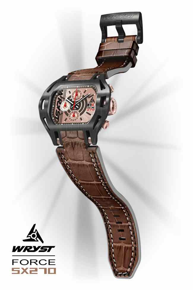 Leather cuff watch Wryst SX270 Brown Alligator Bracelet