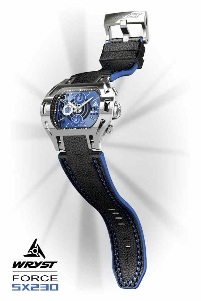 Montre cadran bleu Wryst SX230 bracelet en cuir noir