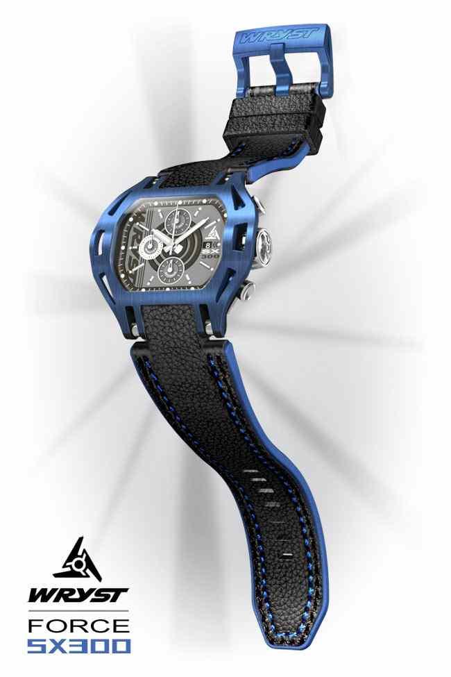 Blue Watch with Black Leather Bracelet