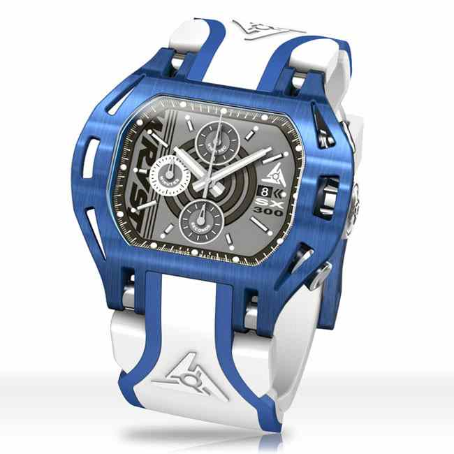 Luxury Blue Sports Watch with White Bracelet Wryst Force SX300