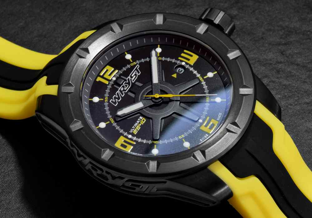 black and yellow swiss watch black DLC coating