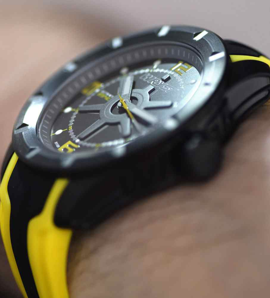 black and yellow swiss watch for men