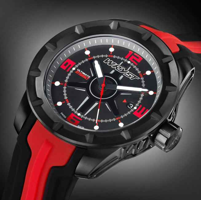Reliable black Swiss sport watch with red details