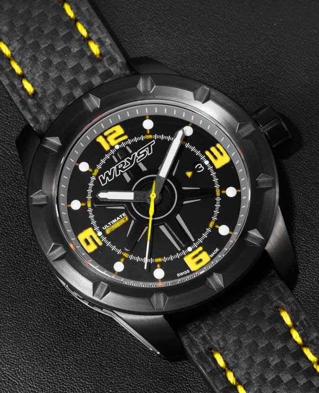 Pulsera de reloj de fibra de carbono negra