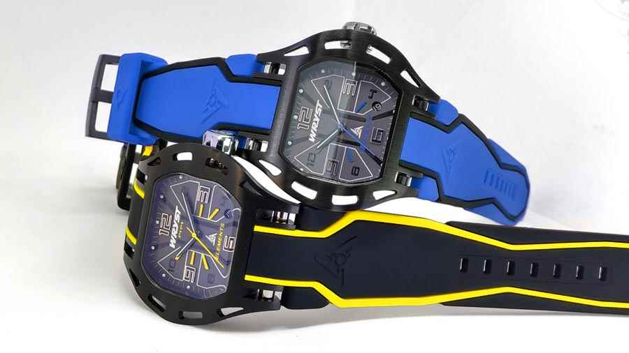 Black and yellow, black and blue watch