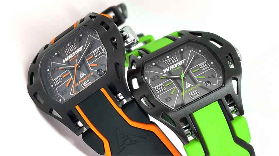 Green orange sports watch black coating