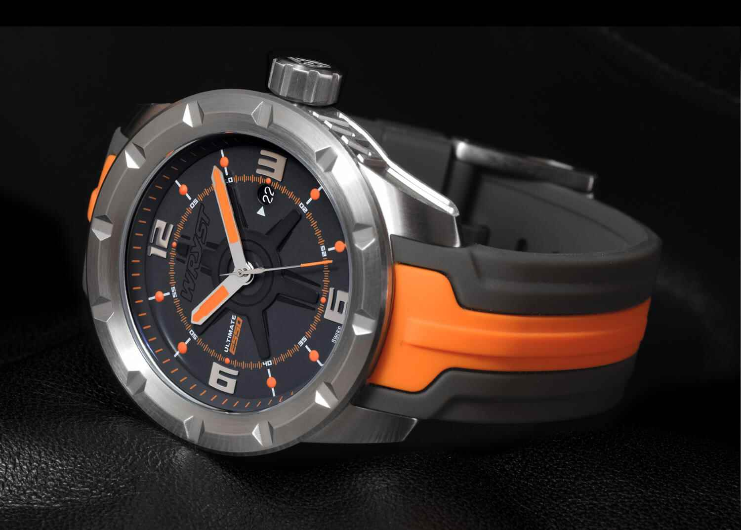 new grey and orange steel watch