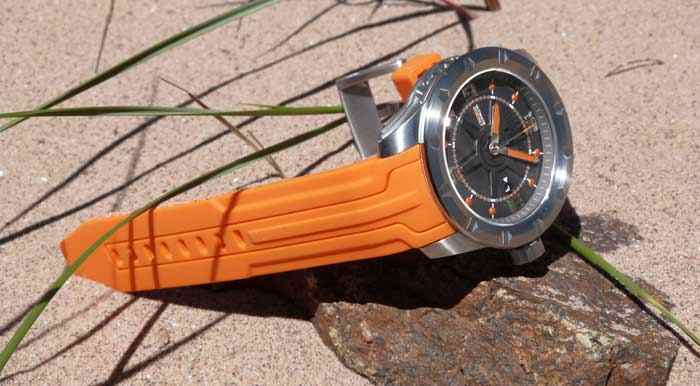 orange sport watch Swiss Made for extreme sports