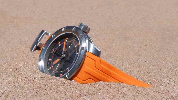 orange mens swiss watch