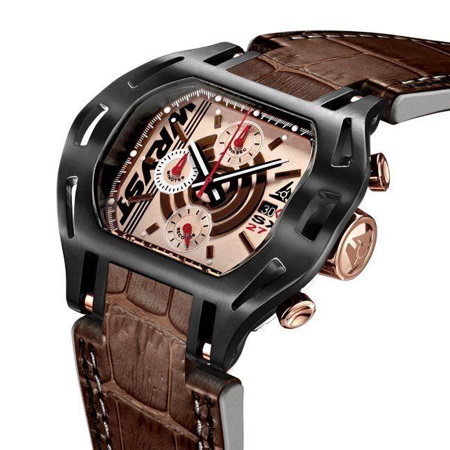 Reloj suizo negro para hombre con pulsera de piel de cocodrilo marrón en oferta
