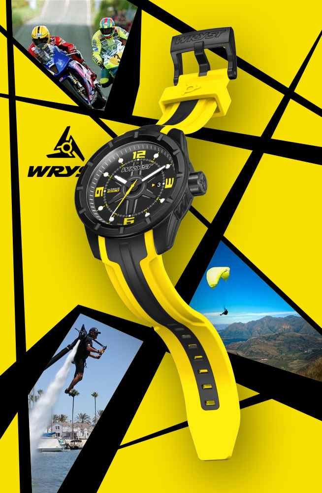 yellow sports watch swiss made