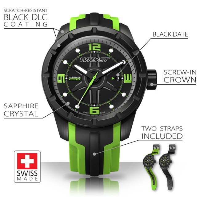 black and green swiss sport watch