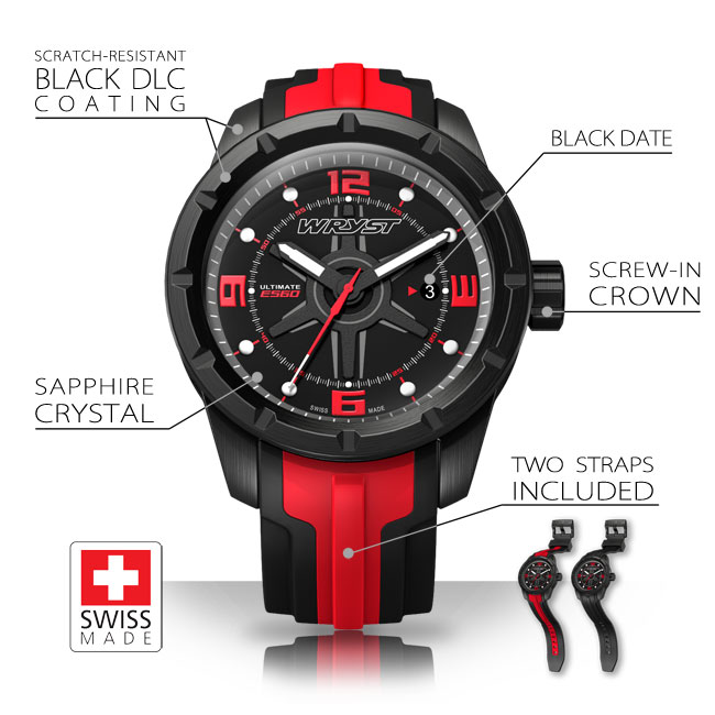 Watch Specifications Wryst ES60 Black and Red Sports Watch