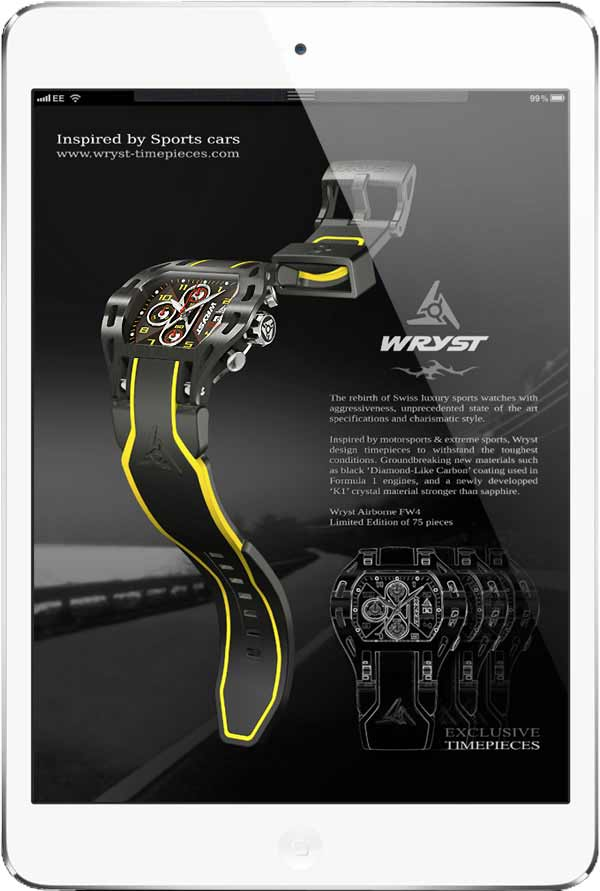 Swiss Watch for Extreme Sport and Motor Sport Wryst