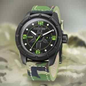 Swiss Military watch with camouflage army bracelet and black DLC coating