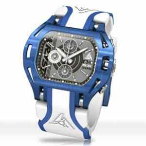 Luxury blue sports watch with white bracelet Wryst Force