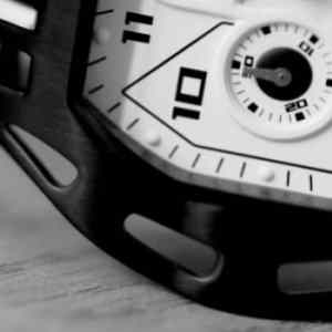 Black & White Closeup pictures of the black sport watch MS2