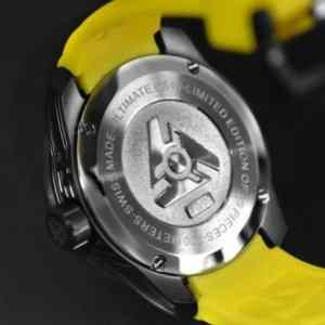 Black and yellow Swiss sport watch with tough materials designed to last