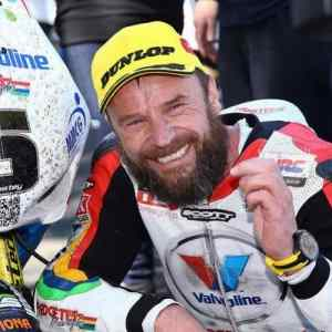 Isle of Man TT 2015 first winner Bruce Anstey awarded his Wryst timepiece for RST Superbike Race